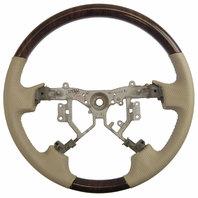 2011-2012 Toyota Avalon Steering Wheel Dimpled Ivory Tan Leather W/Woodgrain New