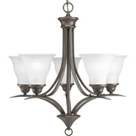 Antique Bronze Trinity  Series 5-Light Chandelier with Etched Glass Shades