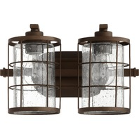 "Oiled Bronze Ellis 2-Light 13.5"" Wide Vanity Light W/Clear Seeded Glass Shades"