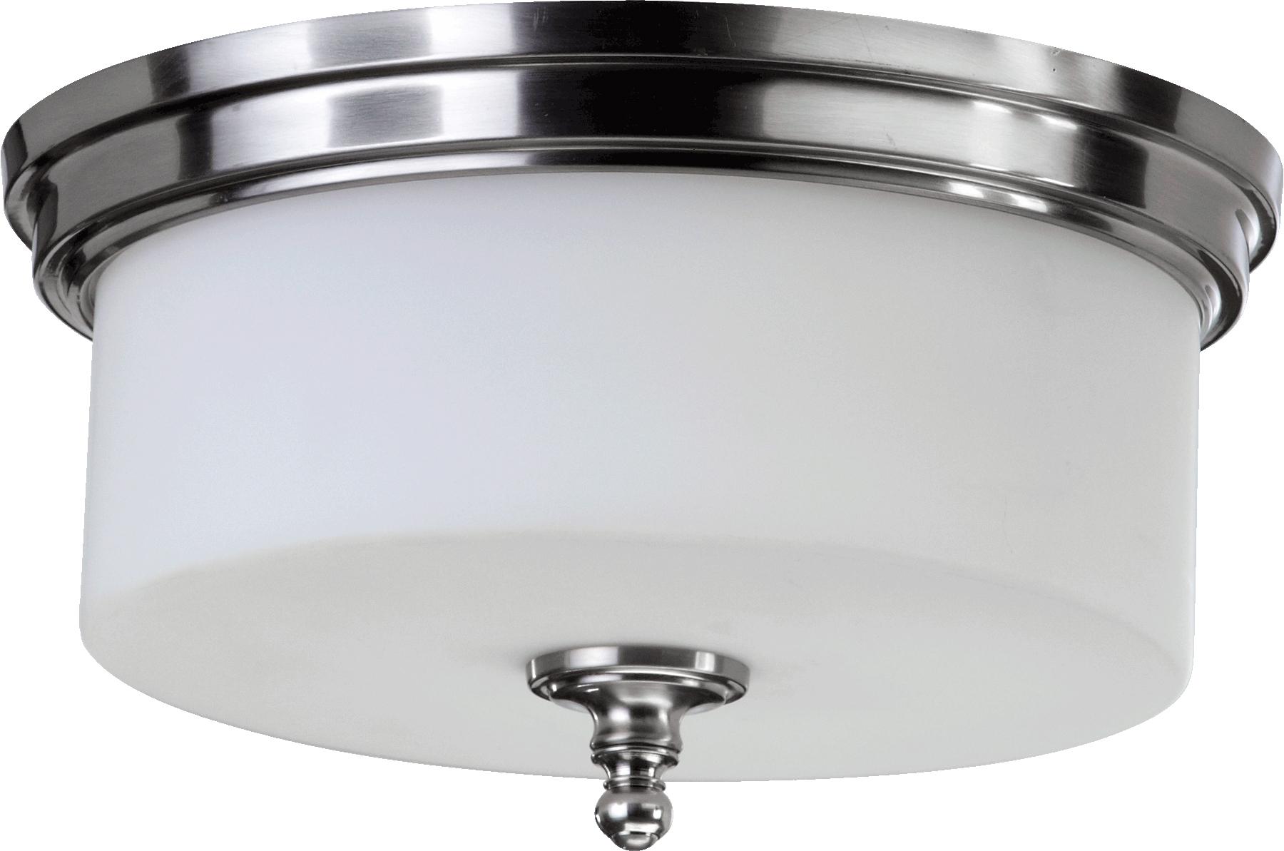 "Satin Nickel Rockwood 3-Light 14.25""W Flush Ceiling Fixture W/Satin Opal Glass"