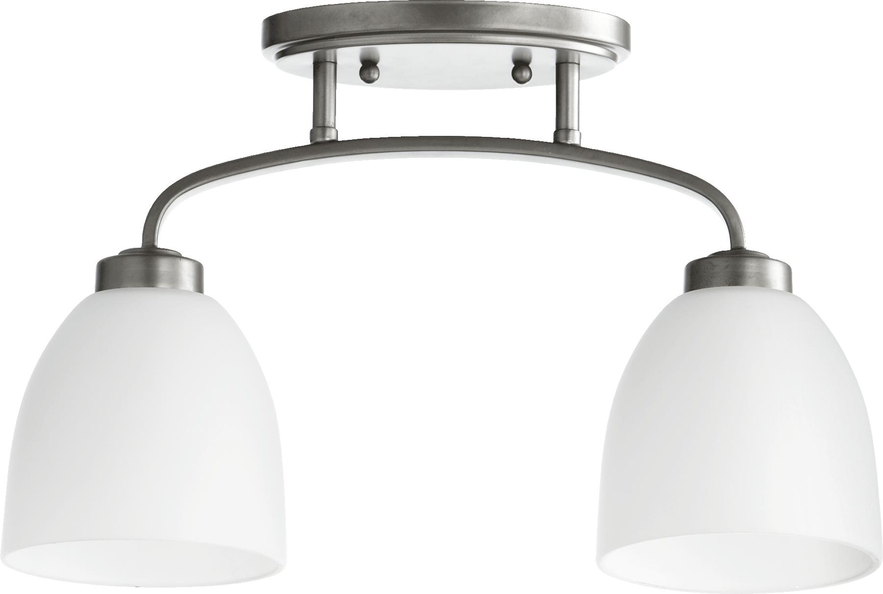 "Classic Nickel Reyes 2-Light 16.25""Long Flush Ceiling Fixture W/Satin Opal Glass"