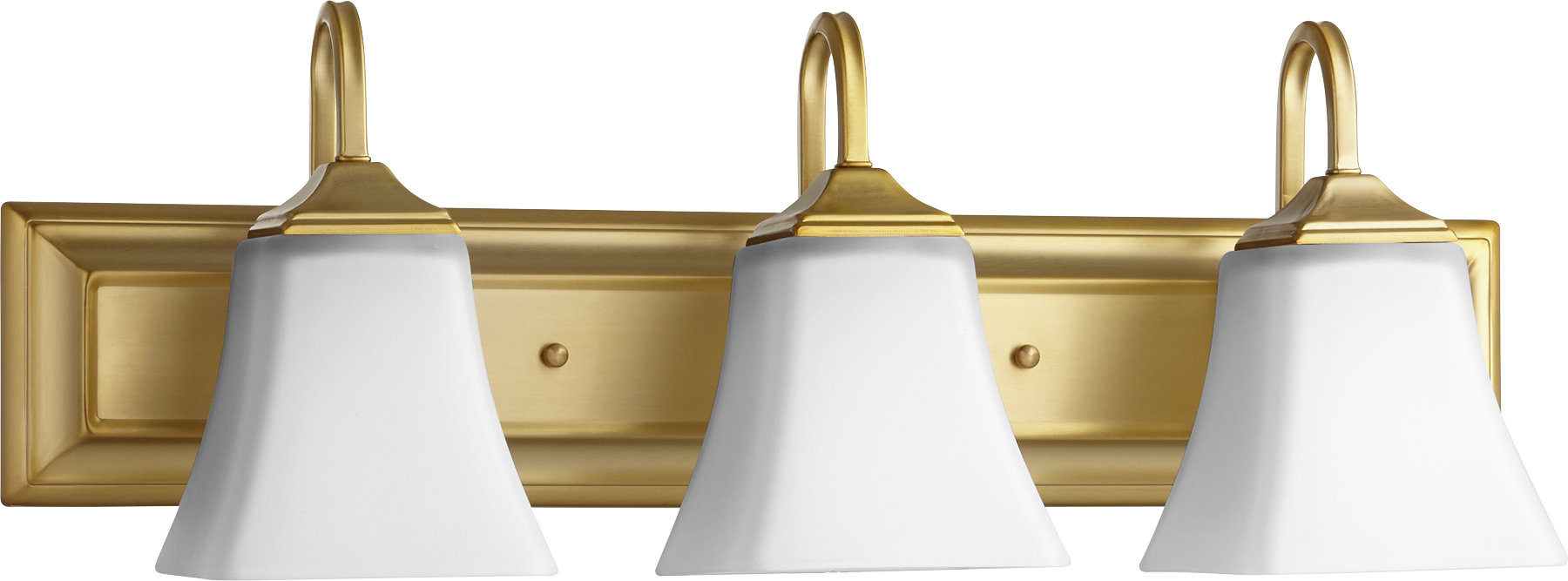 "Aged Brass Signature 3-Light 24""Wide Vanity Wall Light W/Satin Opal Glass Shades"