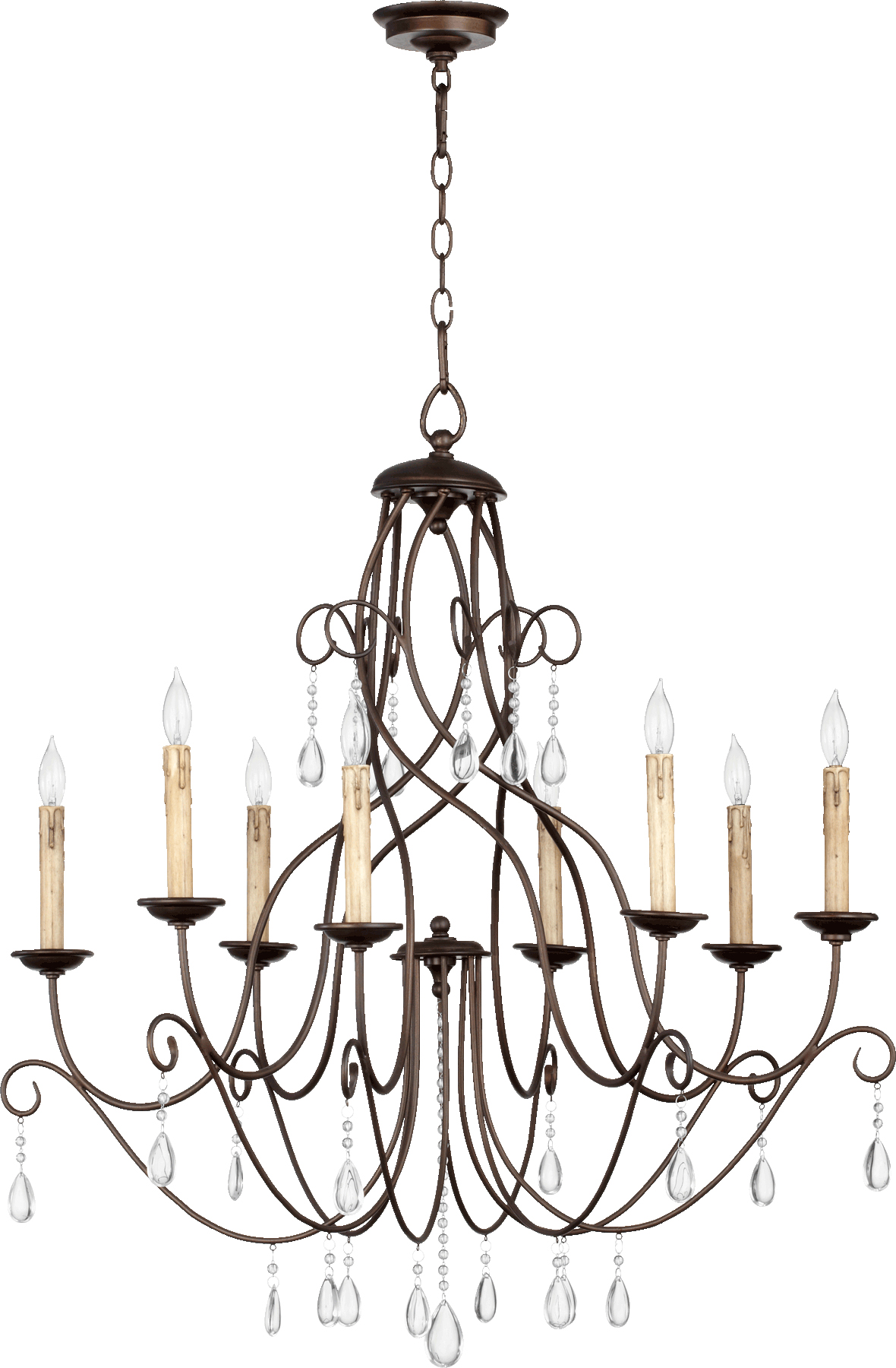 "Oiled Bronze Cilia 8-Light 32"" Wide Chandelier W/Crystal Droplets"