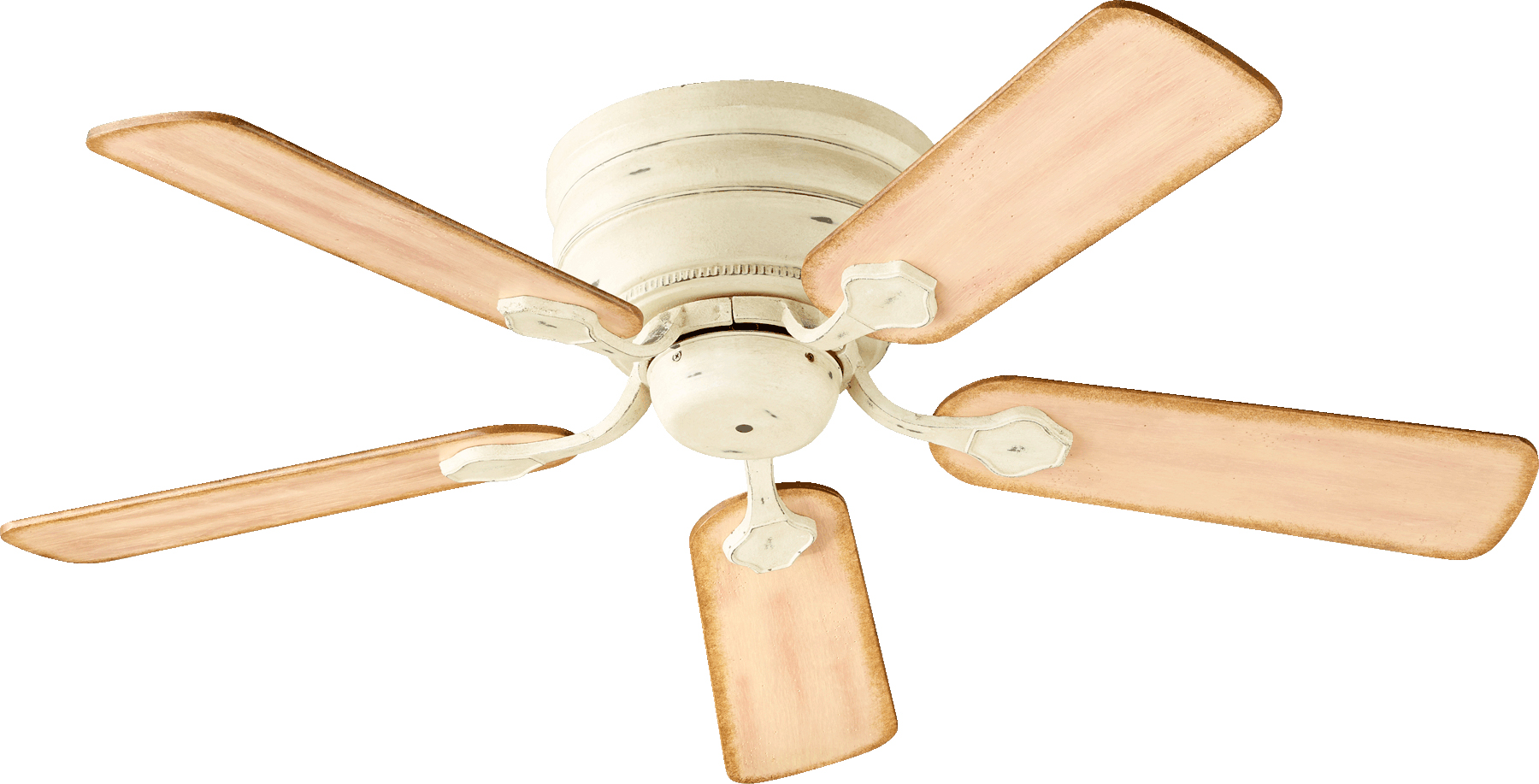 """Persian White Barclay 44""""Wide 5-Blade Hugger Ceiling Fan W/Weathered Pine Blades"""