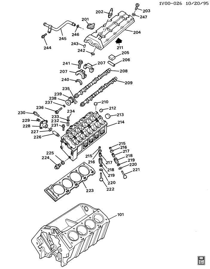 1990 1995 Chevy Corvette C4 Zr1 Lt5 Rh Timing Chain Tensioner Housing 10110972 Factory Oem Parts