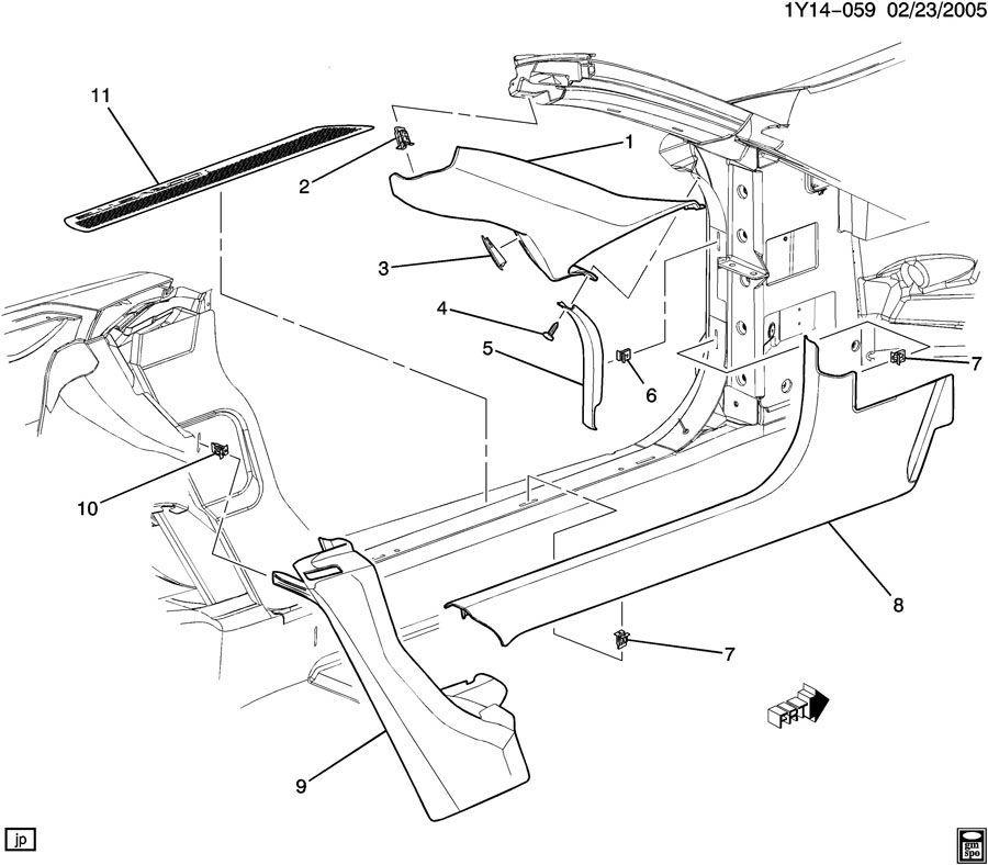 1997 2004 chevy corvette c5 right door sill jamb trim. Black Bedroom Furniture Sets. Home Design Ideas