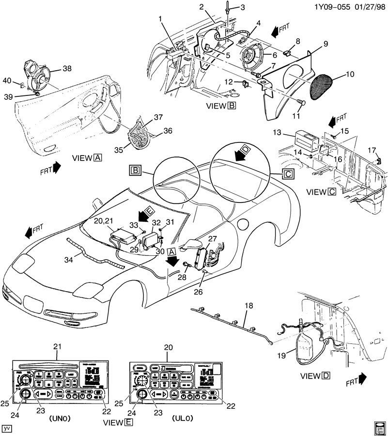 2000 04 chevy corvette c5 lh seat control module oem. Black Bedroom Furniture Sets. Home Design Ideas