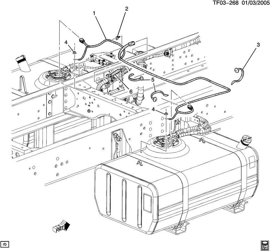 2004-09 Topkick Kodiak T6500-T8500 Dual Tank Fuel Wire ...