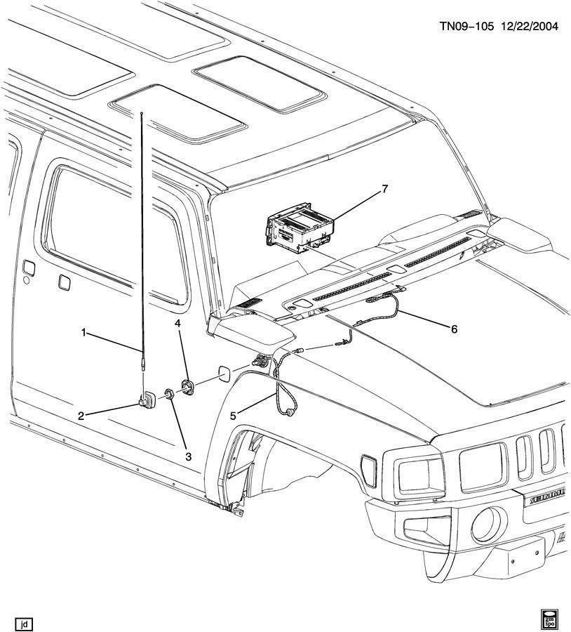 2006-2010 Hummer H3 /& H3T Fender Mounted Radio Antenna Spacer New OEM 15114229