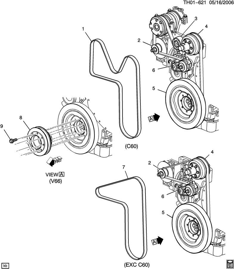 2004 2009 topkick kodiak c6500 c8500 serpentine belt tensioner lg5 new 15170283  3126 cat engine belt diagram #6