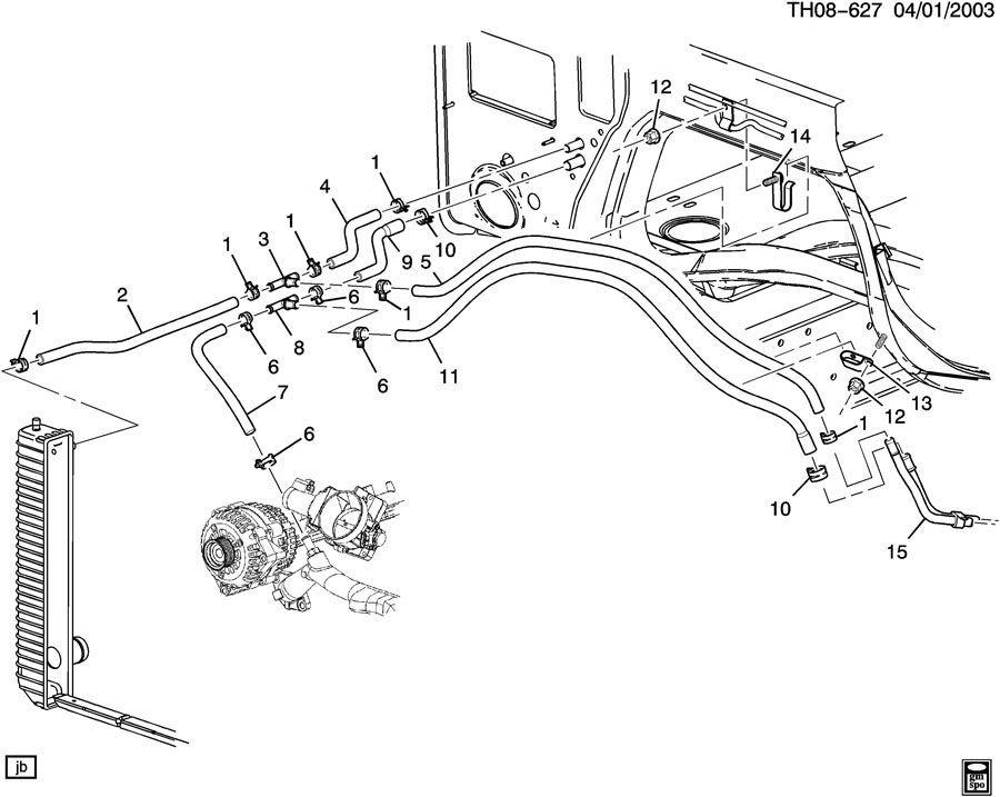 2003 kodiak c4500 heater hose assembly black