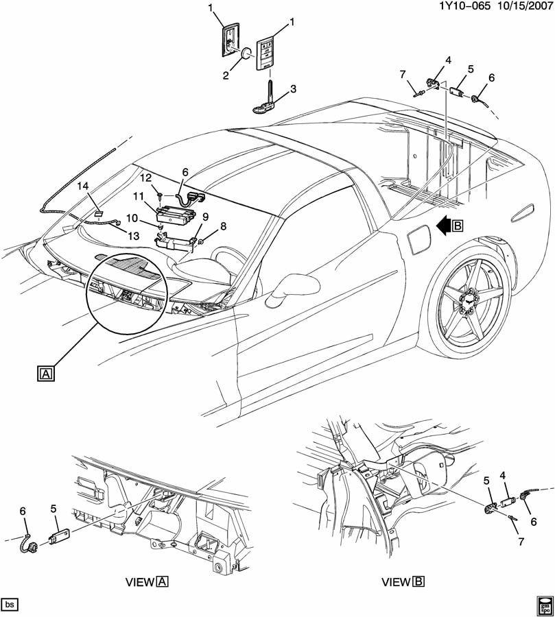 05-09 Corvette / Cadillac XLR Keyless Entry Remote Antenna Cable A Pillar