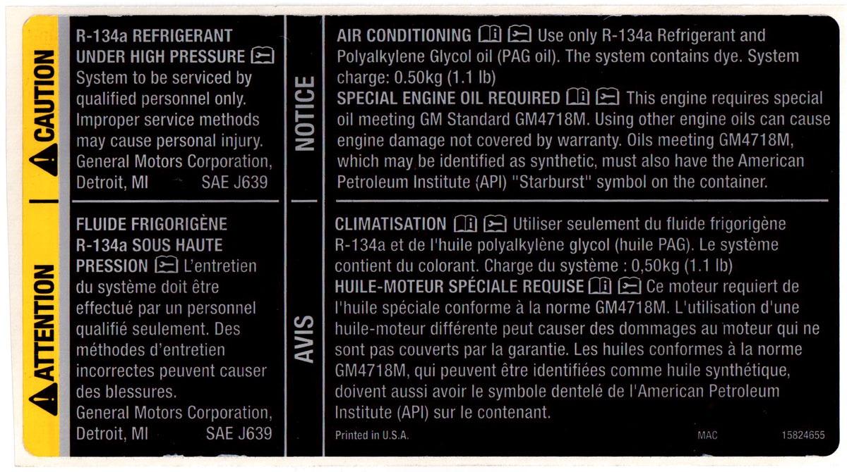 Corvette Xlr Warning Label Refrigerant Oil