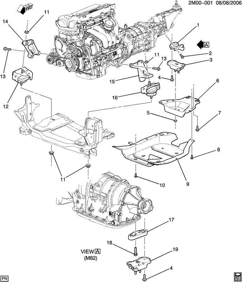 200610 Solstice    SKY    Transmission Support Reinforcement Mount 15833877 15285640   Factory OEM Parts