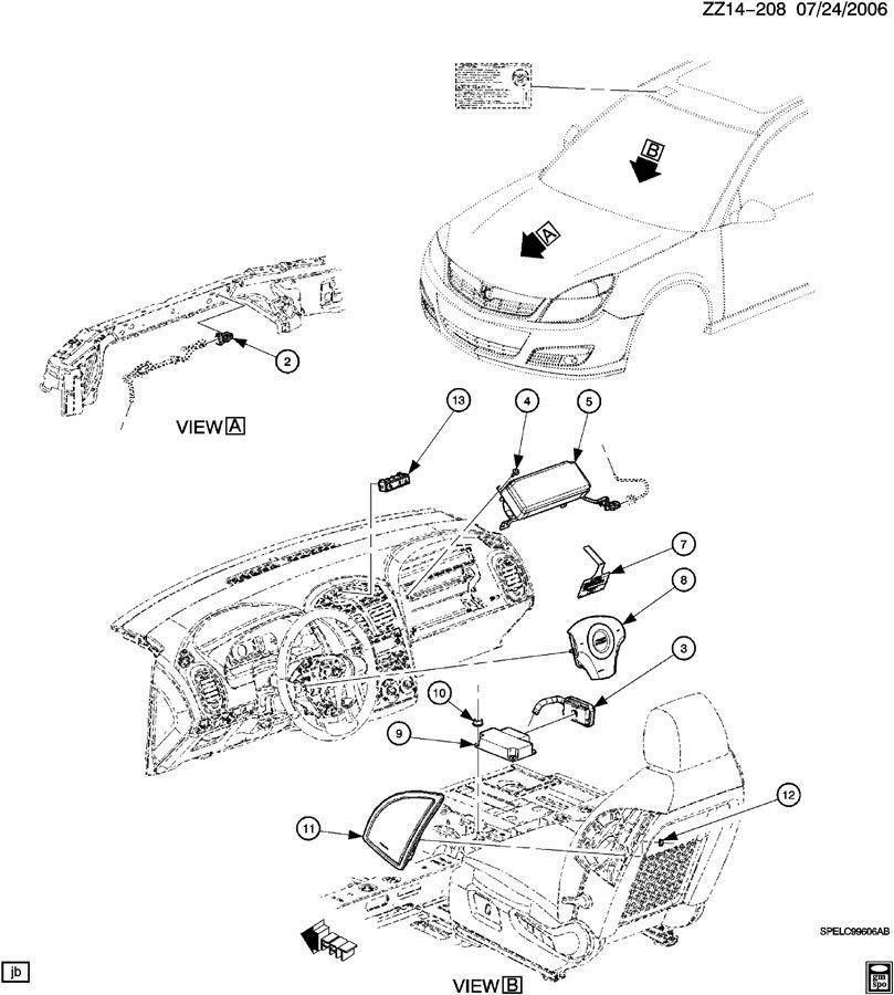 chevy airbag schematic: new 2008-2010 saturn aura airbag sensor module  15835185