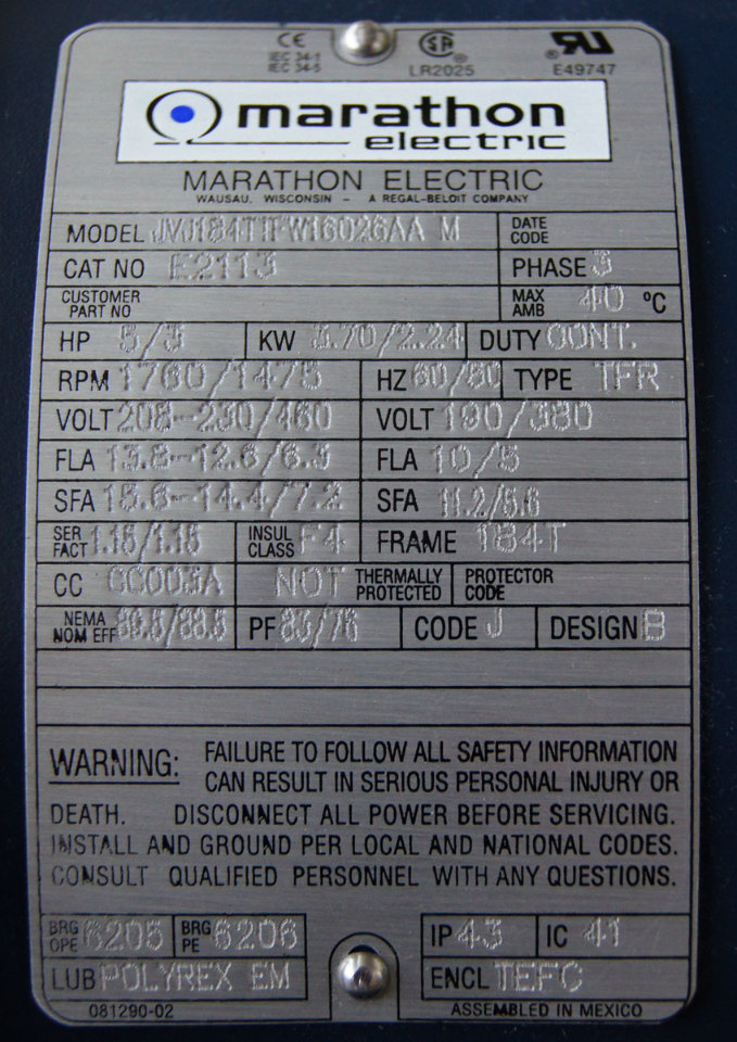 Marathon Electric Xri Motor 3 Phase 5hp 208 460v
