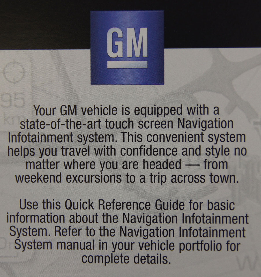 ... GM Touch Screen Navigation Entertainment System Quick Reference Guide  Manual