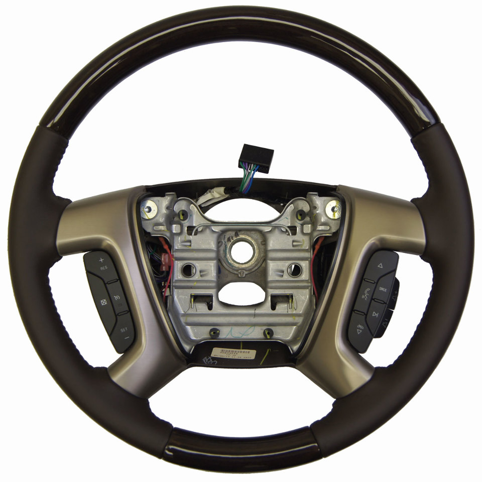 2013-16 Enclave Acadia Steering Wheel Cocoa Leather W/Wood