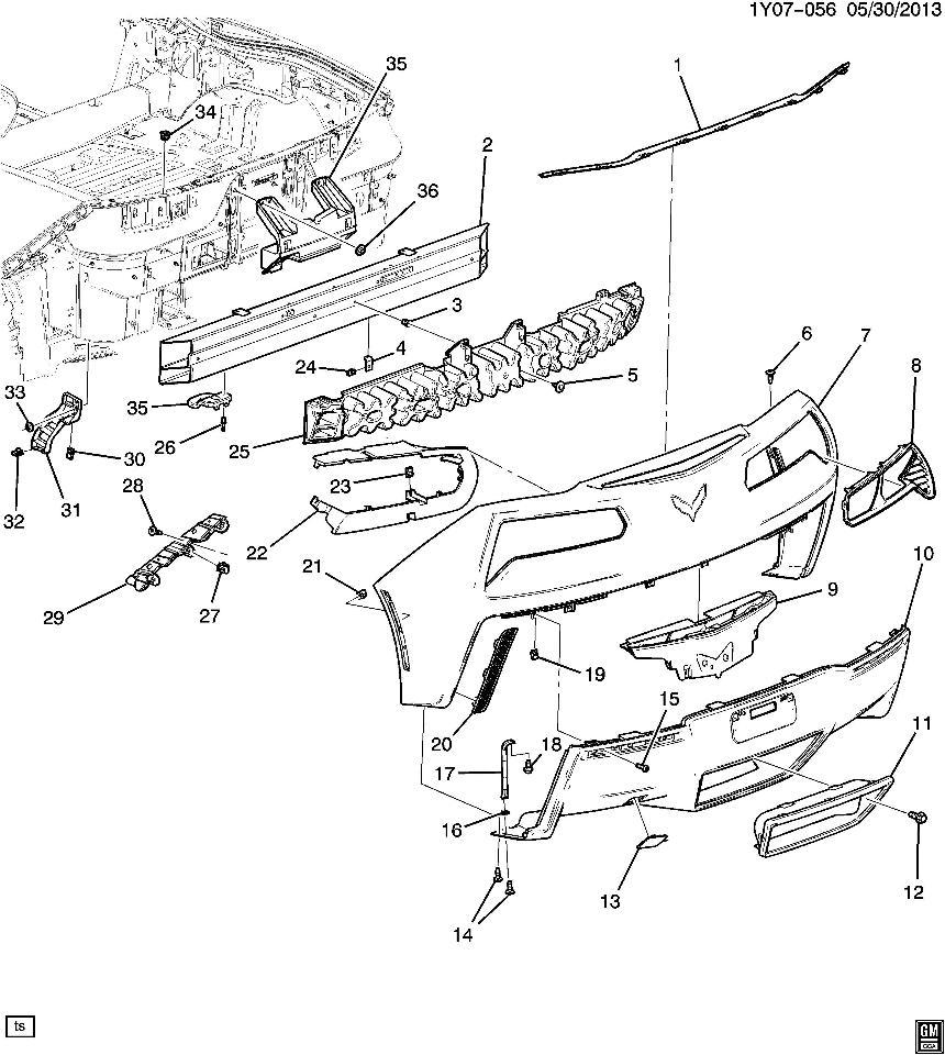2014 2015 Chevrolet Corvette C7 Rh Tail Lamp Inner Trim