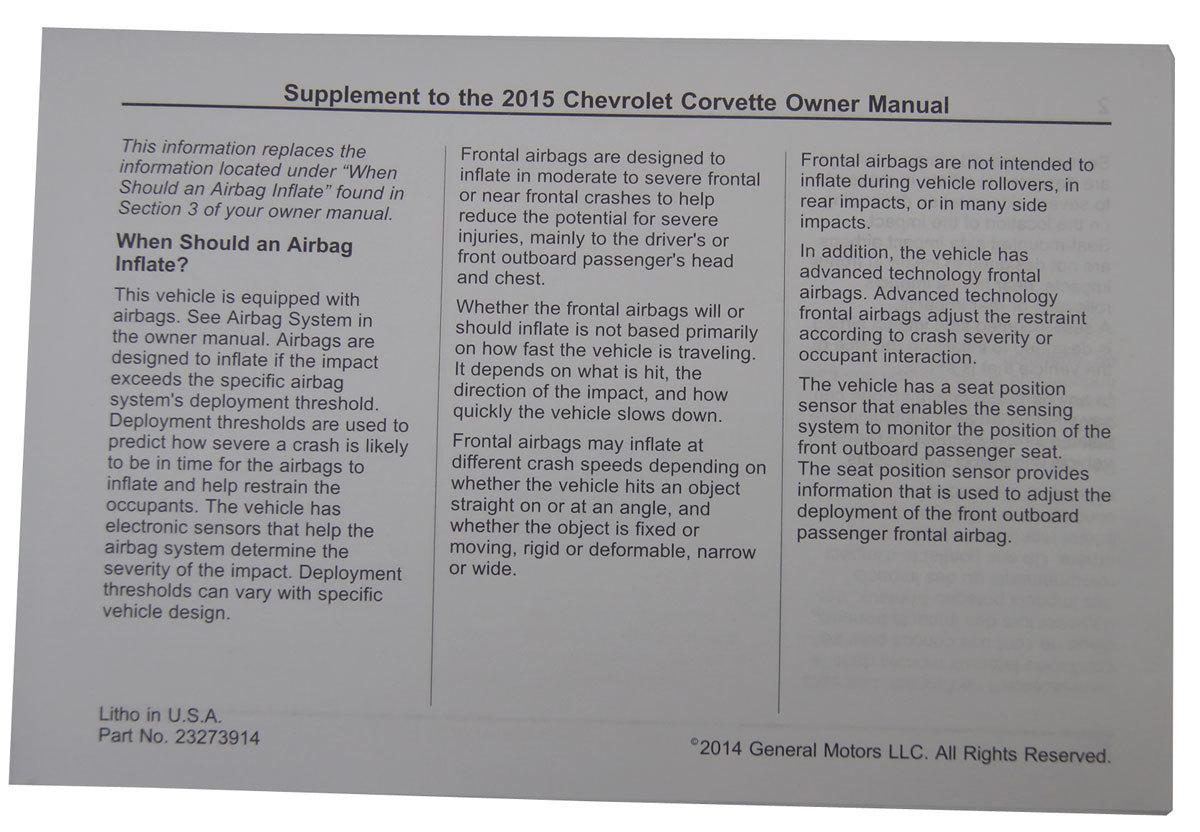 2015 corvette owners manual pdf