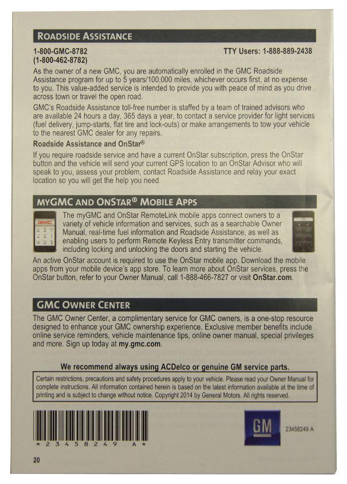 gmc yukon owners manual 2015