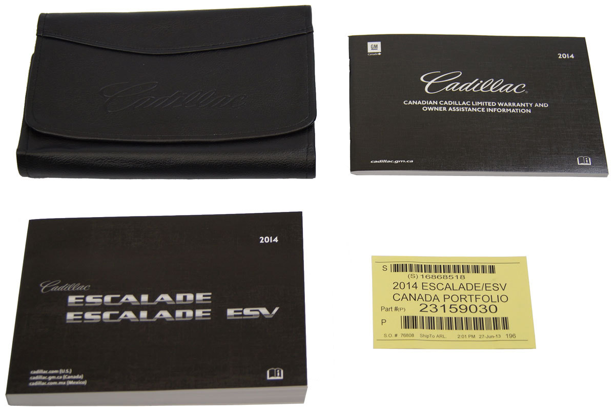 2014 Cadillac Escalade & Escalade ESV Owners Manual Booklet W/ Leather  Pouch ...