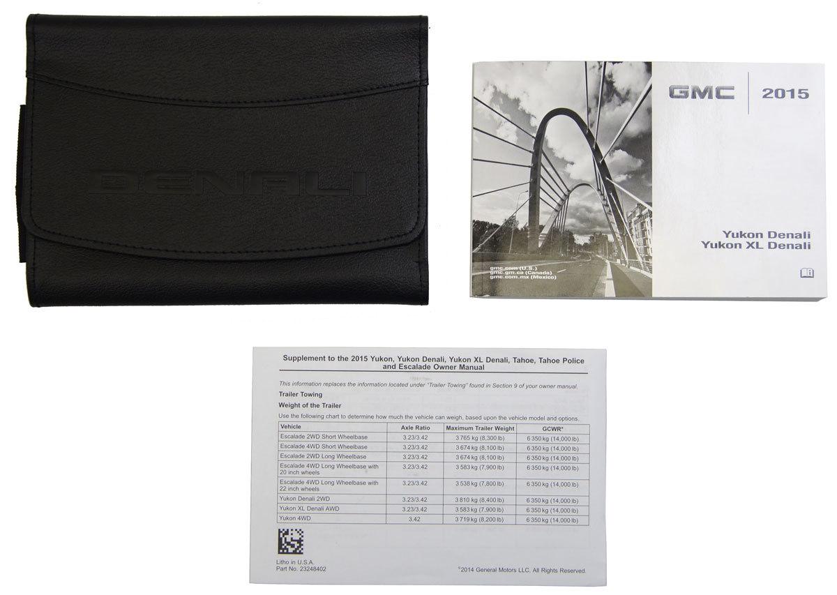 2015 gmc yukon denali/xl denali owners manual book w/leather case.