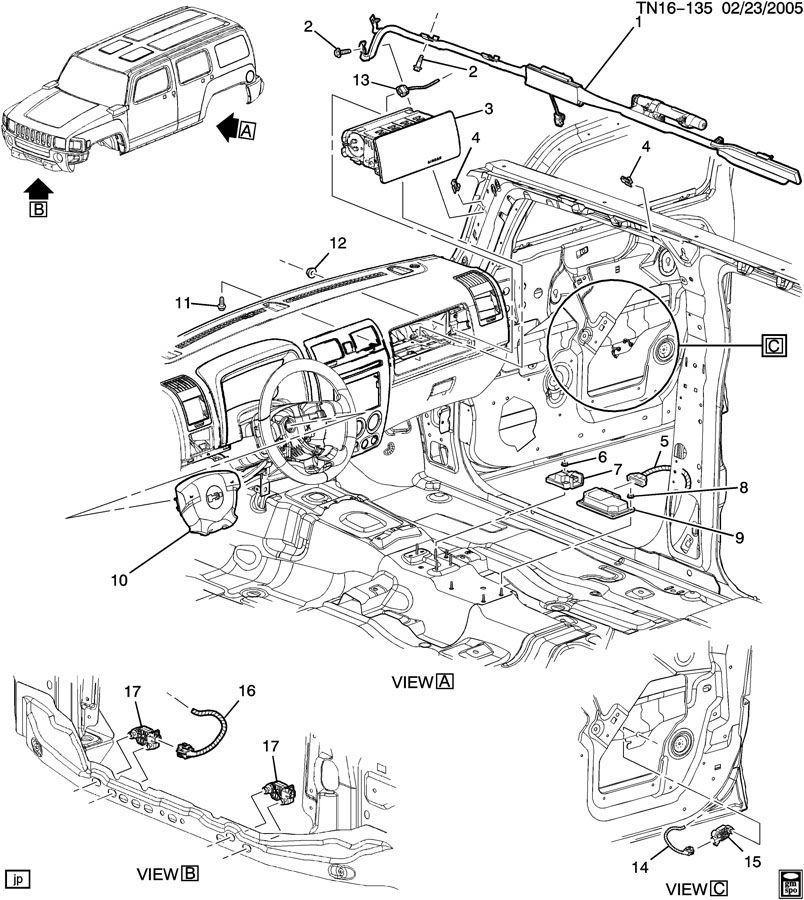 2010 Hummer H3 H3T Rollover Airbag Air Bag Sensor New OEM ...