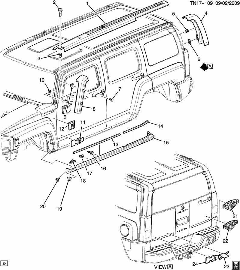 2006 2010 Hummer H3 Lh Rear Upper Molding Trim Oem