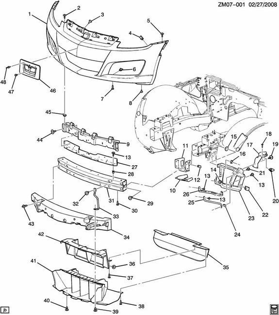 2007   2010    Saturn       Sky    Front Bumper Fascia Impact Bar New Core Support 25854822   Factory OEM Parts