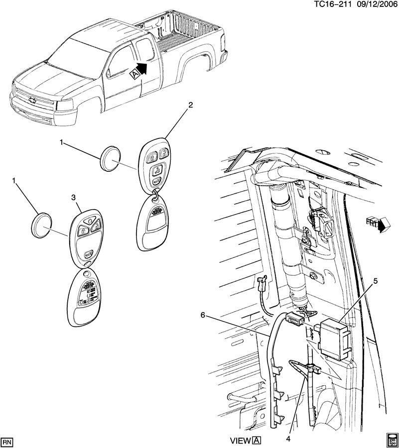 07-11 chevy silverado gmc sierra remote door lock antenna wire 25880054  15224225