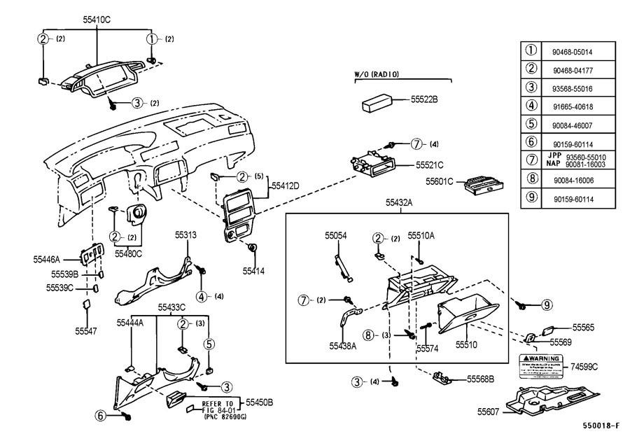 1997 2001 Toyota Camry Steering Column Key Bezel Dark Sage