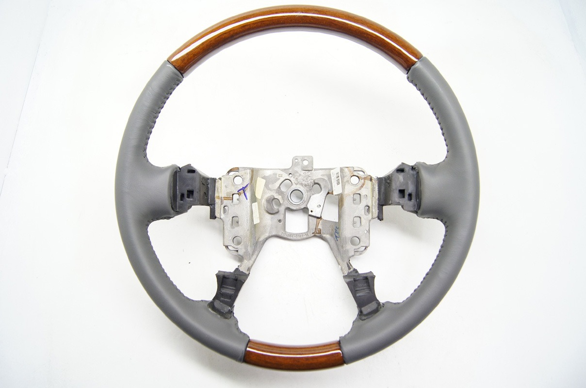 2000-2005 Cadillac DeVille 01-04 Seville Steering Wheel Grey Leather W//Wood New