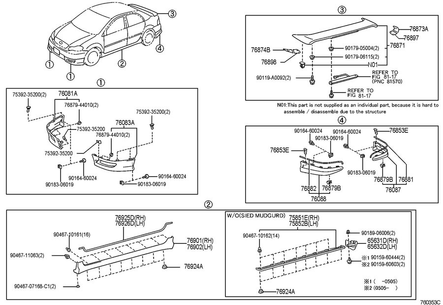 20032008 Toyota Corolla Lh Side Rear Skirt Extension Trim New Rhfactoryoemparts: Toyota Corolla Parts Diagram At Gmaili.net