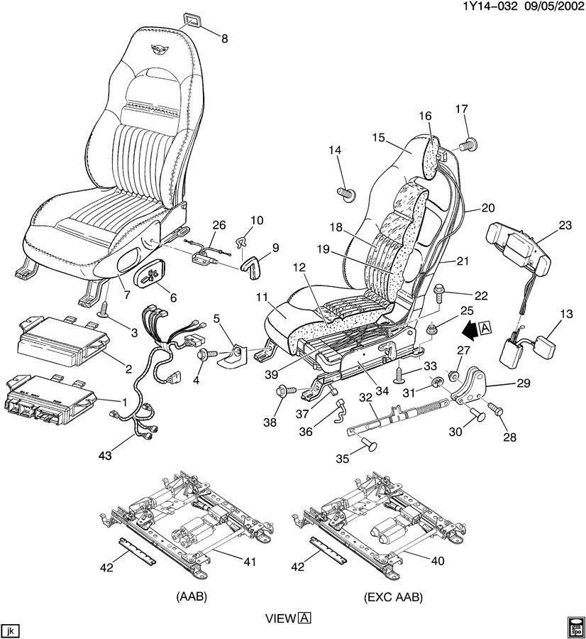 1999-2004 Corvette C5 Passenger Power Seat Track Adjuster ...