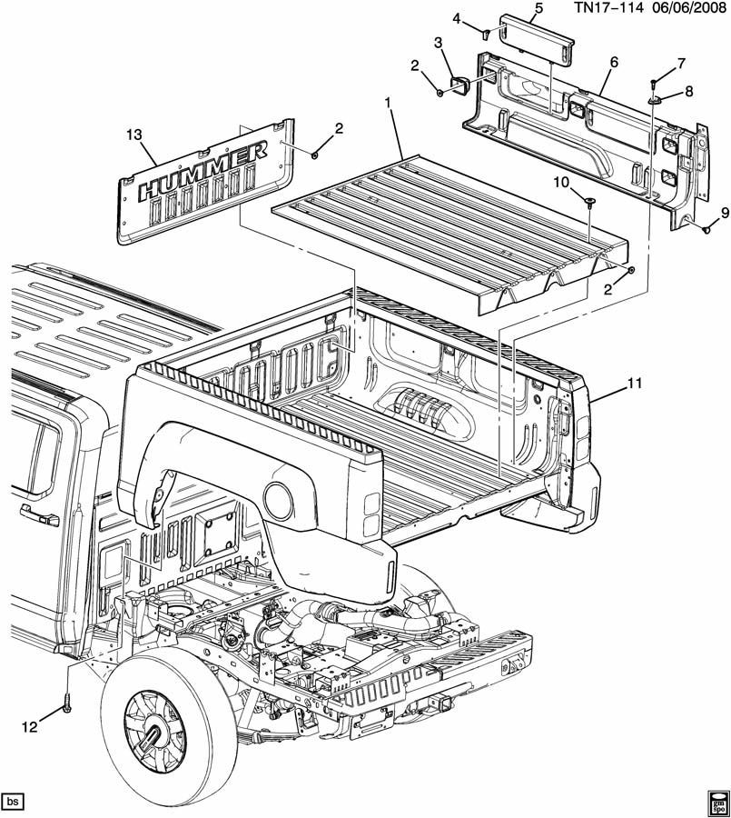 2009 2010 Hummer H3t Truck Bed Liner Right Side Storage