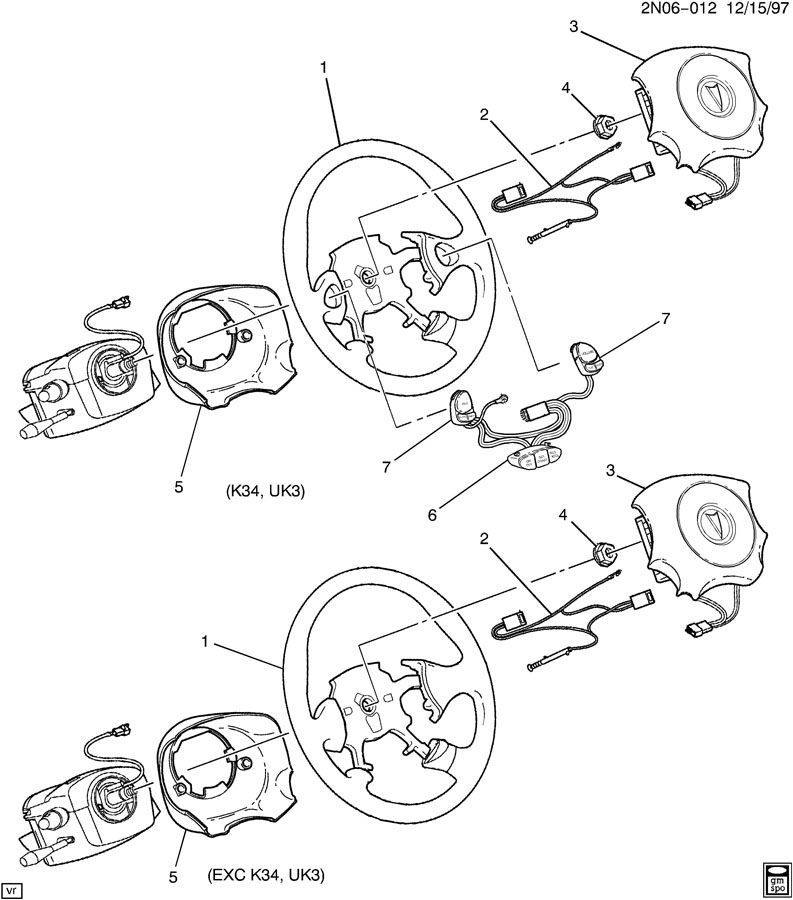 1999 2005 Pontiac Grand Am Steering Wheel Graphite Grey Leather New