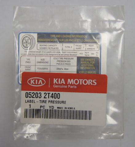 2011 2013 Kia Optima Tire Pressure Label New OEM 052032T400