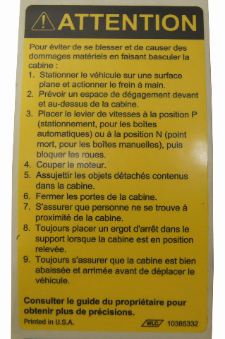 Gmc Topkick Chevy Kodiak Caution Label Tilt Cab French New
