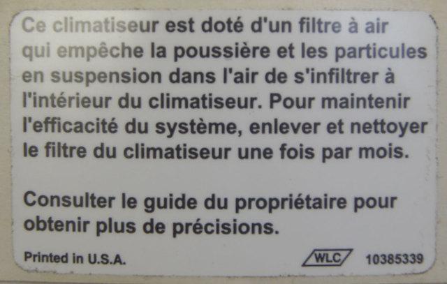 2005 2009 Topkick Kodiak Air Conditioner Filter Label