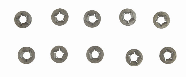 "GM Push On Washers Pack of 10 Nut Retainers M6 X 1/2"" O.D. New OEM 11505483"