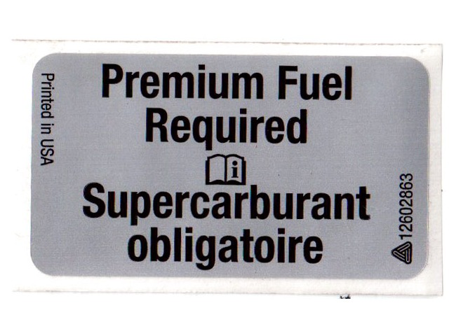 Genuine GM OEM - Premium Fuel Required Label Sticker Decal
