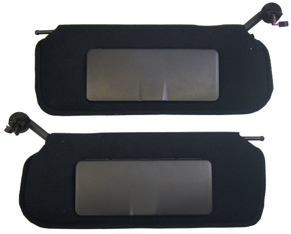 1997-2004 Chevrolet Corvette C5 Sunvisors Pair Left  Right Black W/Vanity Mirror