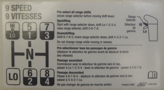 2003-2009 Topkick/Kodiak 9 Speed Shift Sequence Label New OEM 15091352