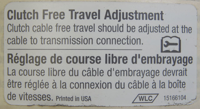 "GM Label ""Clutch Free Travel Adjustment"" English & French New OEM 15166104"