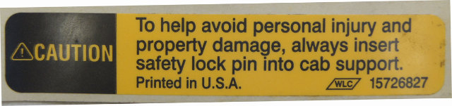 1997-2009 Topkick/Kodiak T6500-T8500 Tilt Cab Caution Label New OEM 15726827