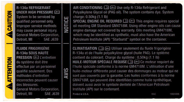 Corvette Xlr Warning Label Refrigerant Oil on Cadillac Parts Diagram