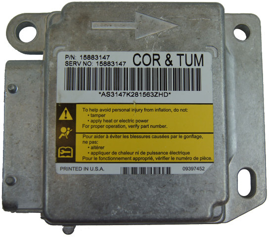 2009-2011 Corvette C6 Airbag Air Bag Module ECU 15883147 20877201