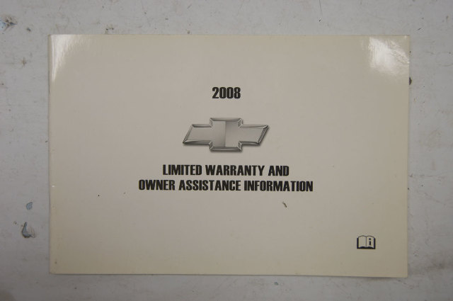 2008 Chevrolet Warranty & Owners Assistance Information Booklet Used