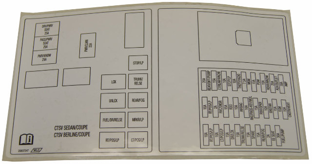 [DIAGRAM_0HG]  2010 Cadillac CTS-V Main Wiring Junction and Fuse Block Label New OEM  20837247 | Factory OEM Parts | 2010 Cadillac Cts Fuse Box |  | Factory OEM Parts